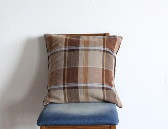 BasShu Cushion Cover OLD FLANNEL  クッションカバー オールドフランネルチェックDBR