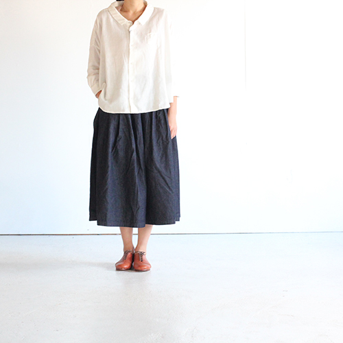 GRANDMA MAMA DAUGHTER(グランママドーター)/ プリーツロングデニムスカート