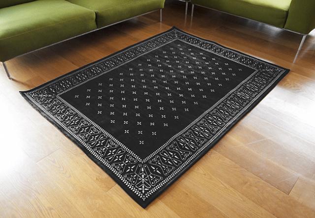 "Cross Bandanna Rug  BLACK/ クロスバンダナラグ ブラック ""200×140cm"""