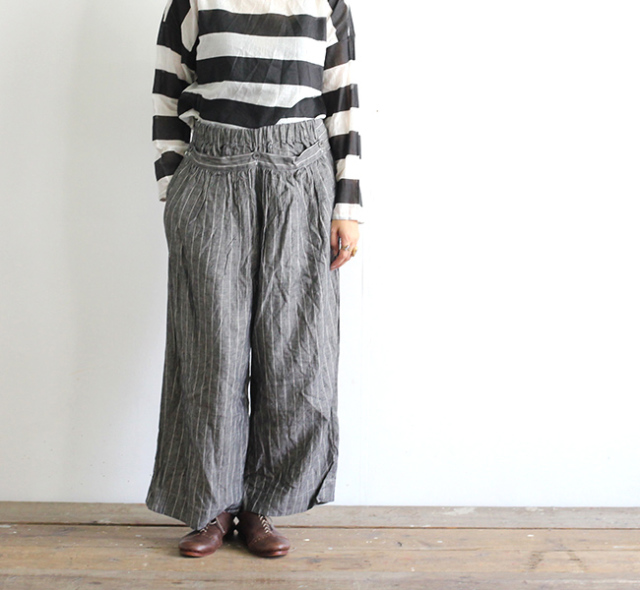 Veritecoeur ヴェリテクール VC-1985 European Linen Stripe Pants