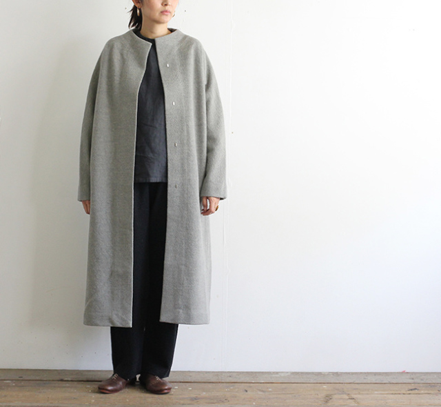 evam eva  エヴァムエヴァ press wool long coat E193K044