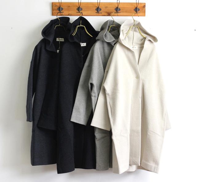 evam eva  エヴァムエヴァ press wool hooded coat E193K045