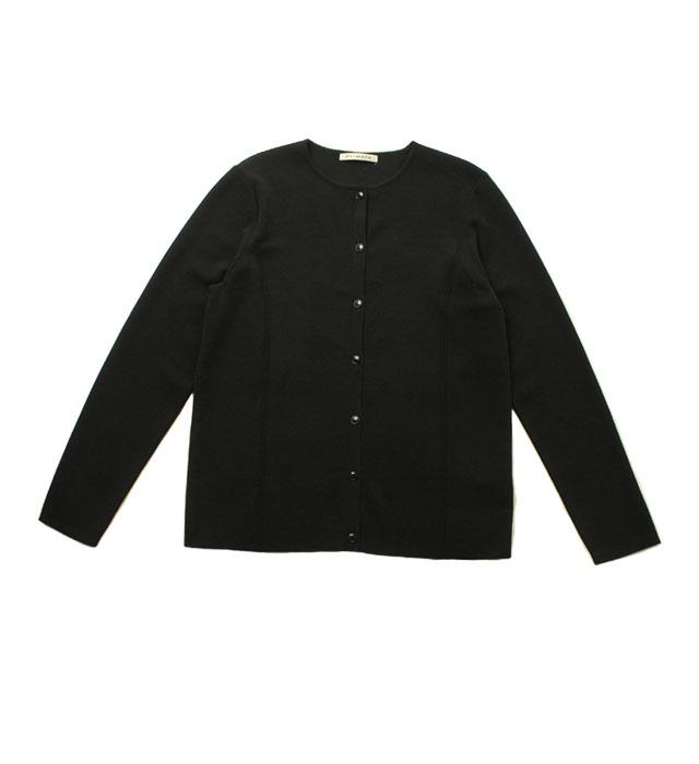 総針クルーネックカーディガン/ブラック