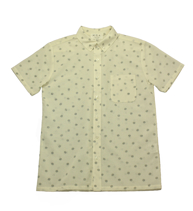 【メンズ】マンガン絣クールビズシャツ/金平糖柄<白>