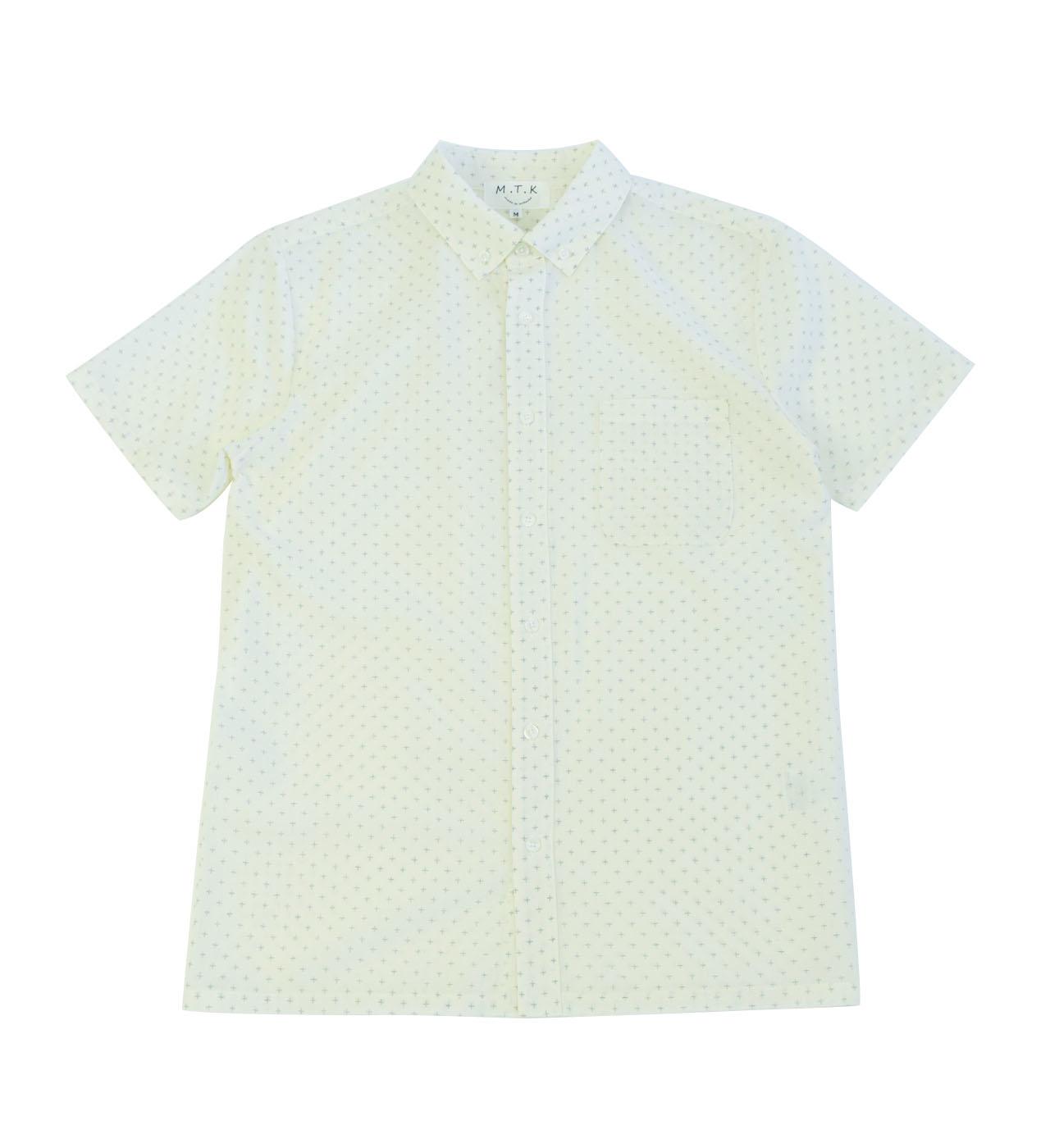 【メンズ】マンガン絣クールビズシャツ/2019年新作十字柄/白色