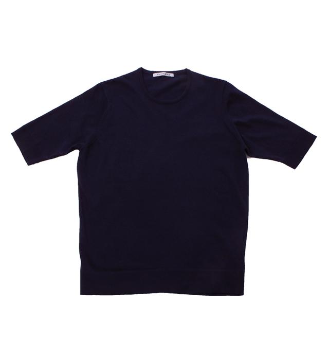 ウルトラファインゲージ ギザコットン半袖プルオーバー/ネイビー