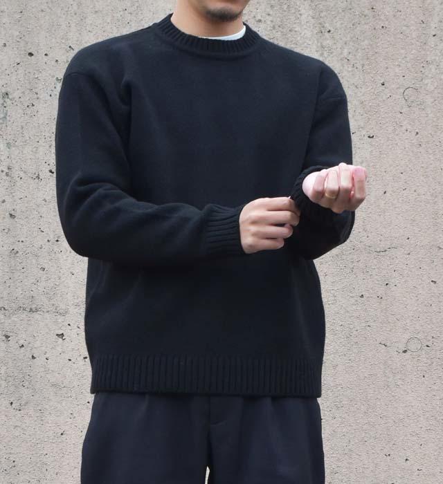 <メンズ>7ゲージ クルーネックニットプルオーバー/ブラック