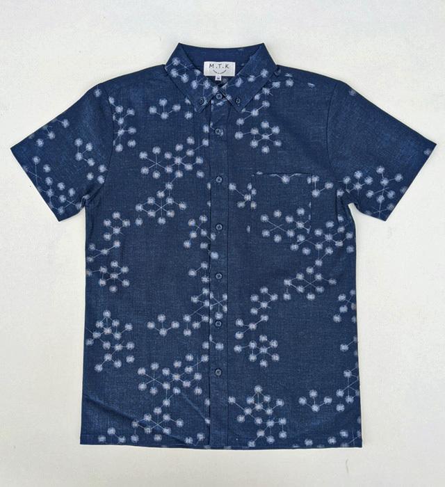 【メンズ】マンガン絣クールビズシャツ/幾何柄<ネイビー>