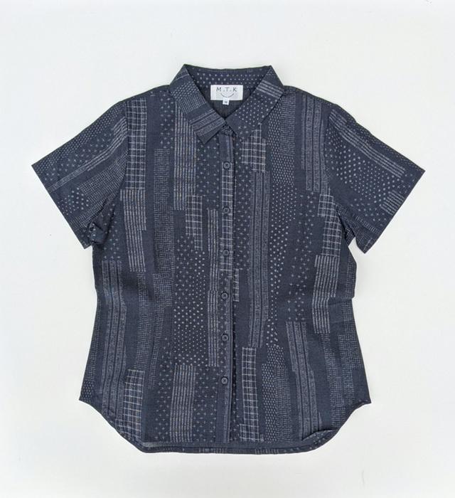 【レディース】マンガン絣クールビズシャツ/幾何柄<ネイビー>