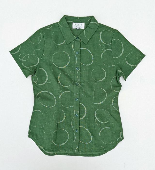 【レディース】マンガン絣クールビズシャツ/水輪<グリーン>