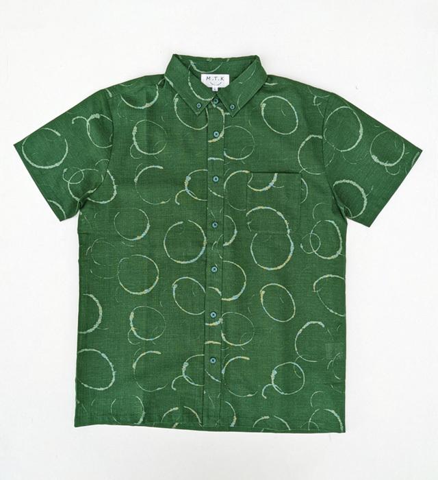 【メンズ】マンガン絣クールビズシャツ/水輪柄<グリーン>