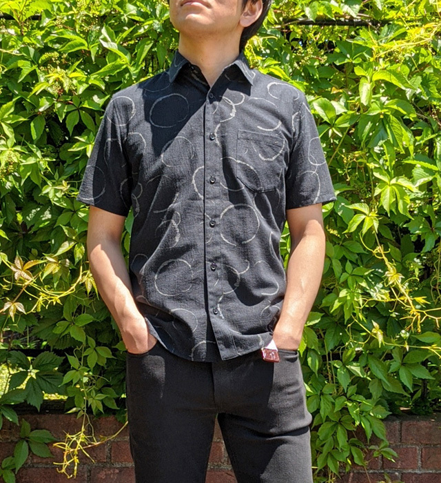 【メンズ】マンガン絣クールビズシャツ/2020年 新作水輪柄/黒色