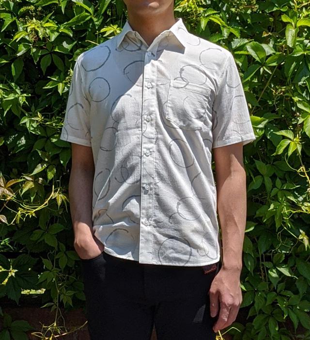【メンズ】マンガン絣クールビズシャツ/2020年 新作水輪柄/白色