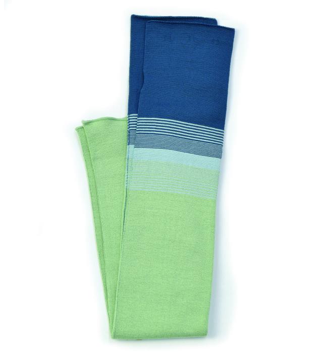 シルク糸でつくったニットアームカバー ボーダー柄/グリーン×ダークグリーン