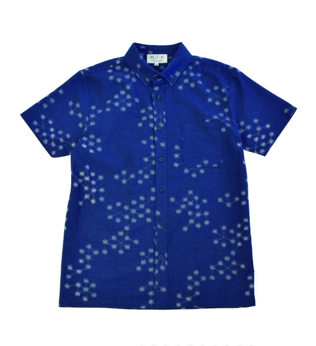 【メンズ】マンガン絣クールビズシャツ/2019年新作幾何学柄/ネイビー