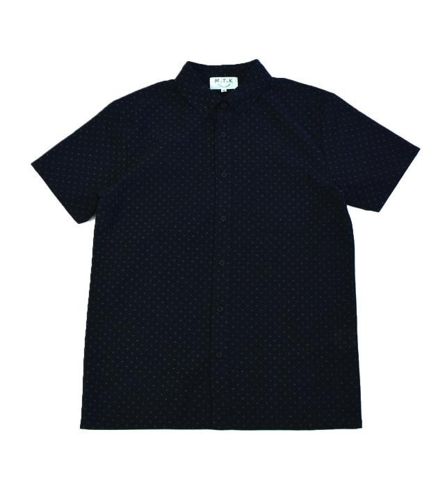 【メンズ】マンガン絣クールビズシャツ/2019年新作十字柄/黒色