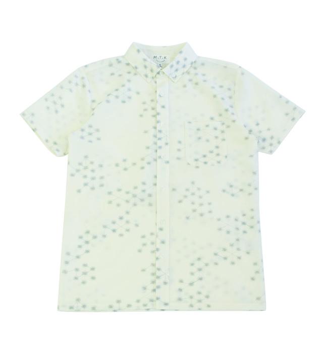 【メンズ】マンガン絣クールビズシャツ/2019年新作幾何学柄/白色