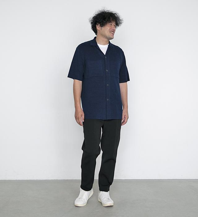 リネンシャツ,半袖ニットシャツ,見附ニット,フレンチリネン,シャツ型ニット