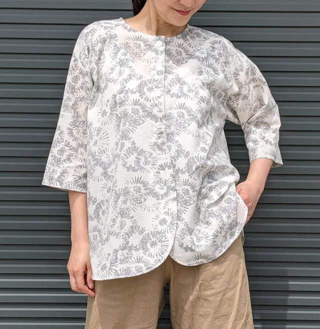 クルーネックブラウス,クールビズシャツ,和柄シャツ,マンガン絣,抗菌防臭シャツ,カーディガン風シャツ