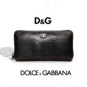 【中古】D&Gドルチェアンドガッバーナ/リザード型押しラウンドファスナー長財布・カーフレザー・ブラック
