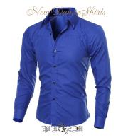 New damie dressShirt・ブルーシャツ・青光沢生地シャツ