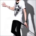 フラワースカル変形カットソー・Civarize  Skull・T-Shirt(シバライズTシャツ)半袖Tシャツ