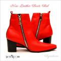 本革ブーツ・New Leather Boots Red ヒールブーツ