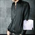 New MutLuster Dress Shirt レギュラーカラーパウダーサテンシャツ