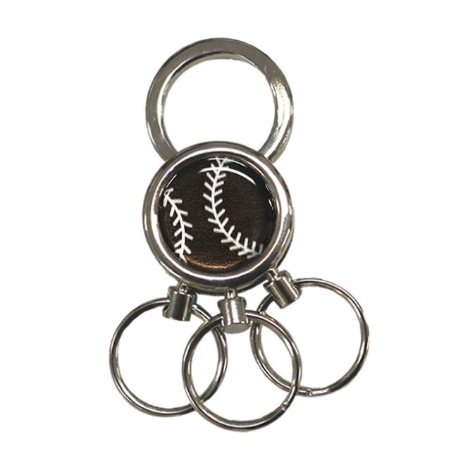 3連キーホルダー 野球ボール柄【ブラック(黒/銀)】