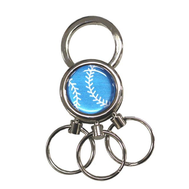 3連キーホルダー 野球ボール柄【ブルー(青/銀)】