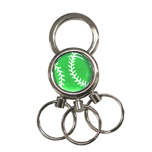 3連キーホルダー 野球ボール柄【グリーン(緑/銀)】