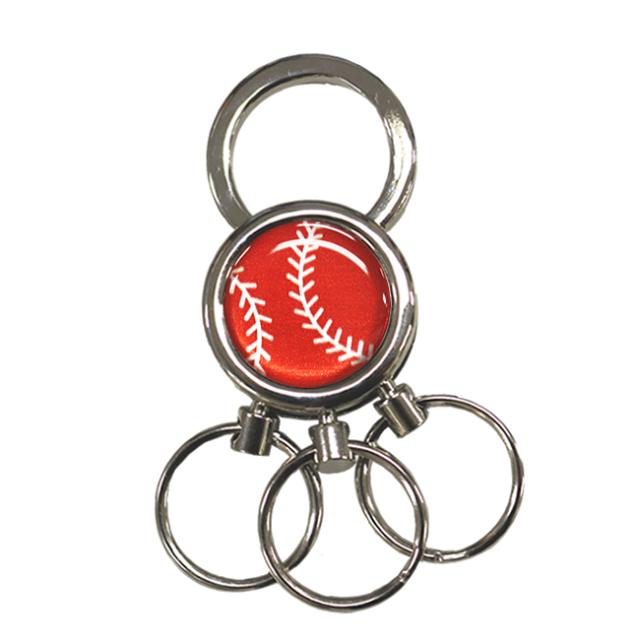 3連キーホルダー 野球ボール柄【レッド(赤/銀)】