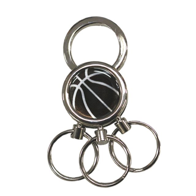 3連キーホルダー バスケ黒銀