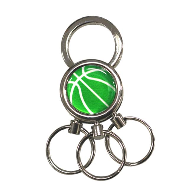 3連キーホルダー バスケットボール柄(緑/銀)