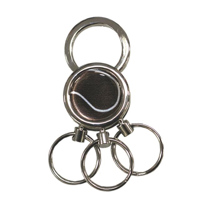3連キーホルダー テニスボール柄【ブラック(黒/銀)】