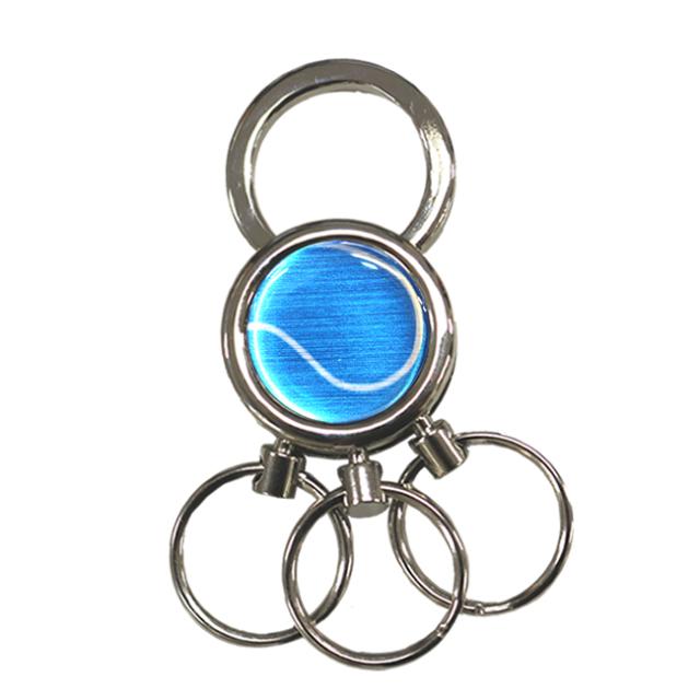 3連キーホルダー テニスボール柄【ブルー(青/銀)】