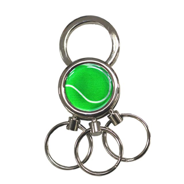 3連キーホルダー テニスボール柄【グリーン(緑/銀)】