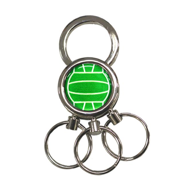 3連キーホルダー バレーボール柄【グリーン(緑/銀)】