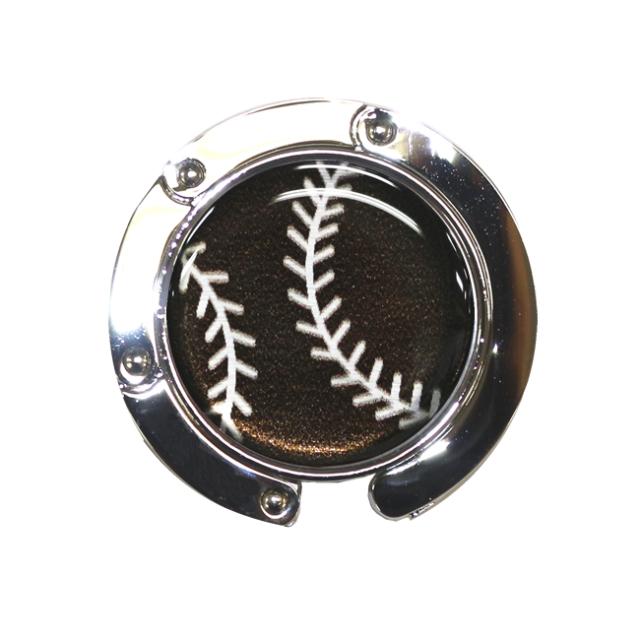 バッグハンガー 野球ボール柄【ブラック(黒/銀)】
