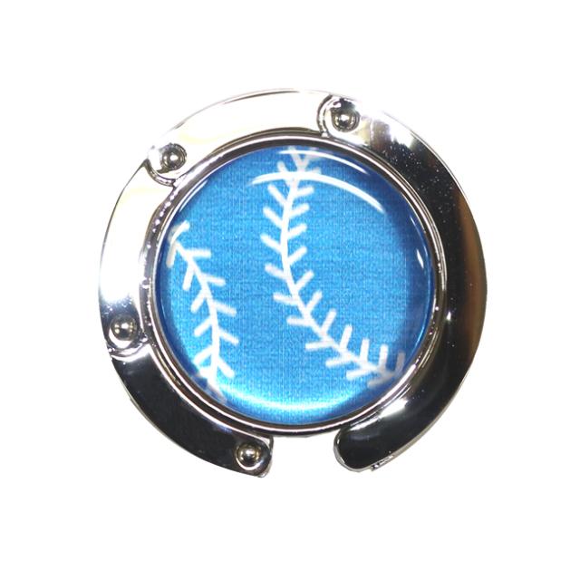 バッグハンガー 野球ボール柄【ブルー(青/銀)】