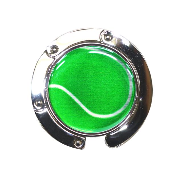 バッグハンガー テニスボール柄【グリーン(緑/銀)】
