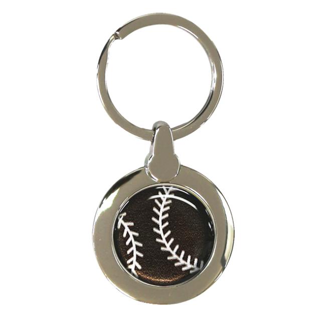 円形キーホルダー 野球ボール柄【ブラック(黒/銀)】