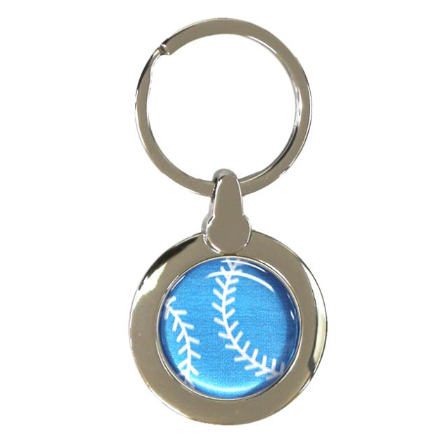 円形キーホルダー 野球ボール柄【ブルー(青/銀)】