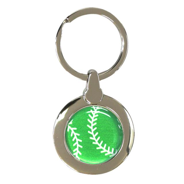円形キーホルダー 野球ボール柄【グリーン(緑/銀)】