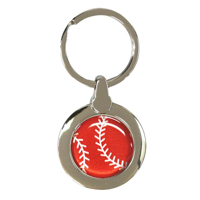 円形キーホルダー 野球ボール柄【レッド(赤/銀)】