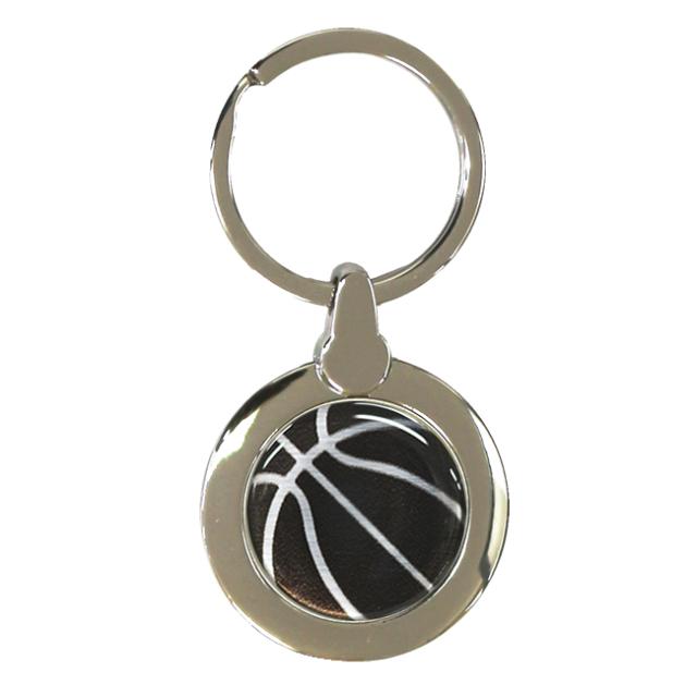 円形キーホルダー バスケットボール柄【ブラック(黒/銀)】