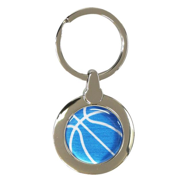 円形キーホルダー バスケットボール柄【ブルー(青/銀)】
