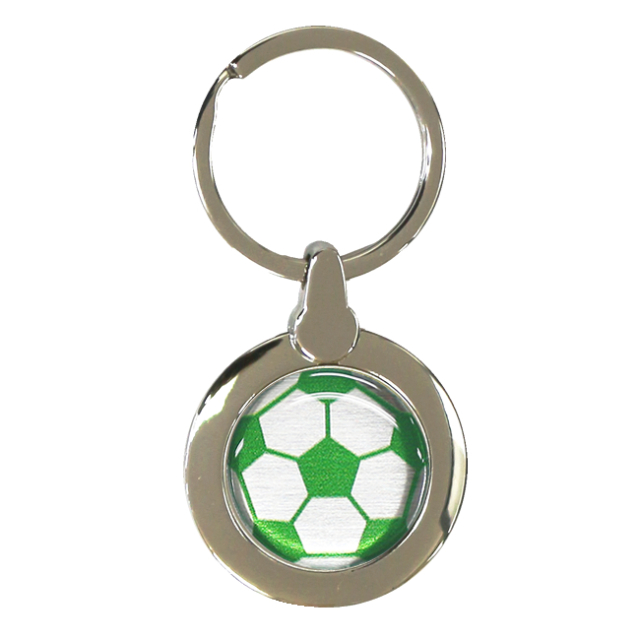 円形キーホルダー サッカーボール柄【グリーン(緑/銀)】