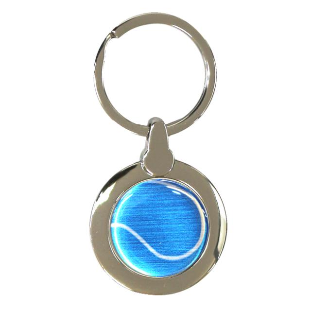 円形キーホルダー テニスボール柄【ブルー(青/銀)】