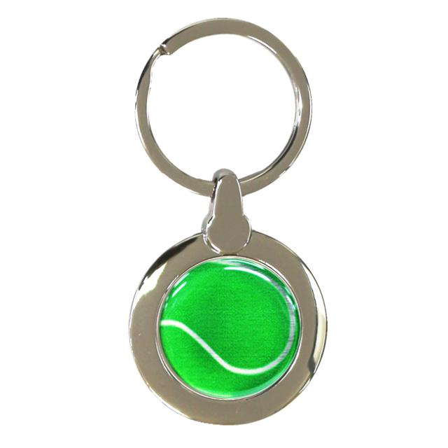 円形キーホルダー テニスボール柄【グリーン(緑/銀)】